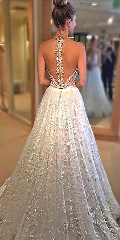 Sweetheart Sweep Train Sequins prom dress, elegant White Lace Party Dress, modern shiny bridal dress with sequins, fashion wedding party dress