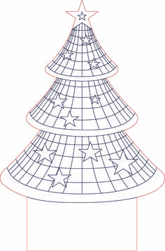 Christmass tree 3d illusion LED lamp vector file