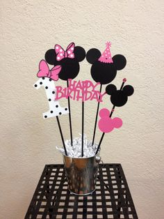 Minnie Mouse Birthday Centerpiece toppers 5 by TheGirlNXTdoor, $9.75