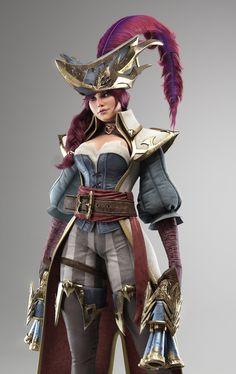 tiago-oliveira-miss-fortune. Miss Fortune, 3d Character, Character Concept, Character Design, Zbrush, Alien Concept Art, Modelos 3d, Lol League Of Legends, Fantasy Miniatures
