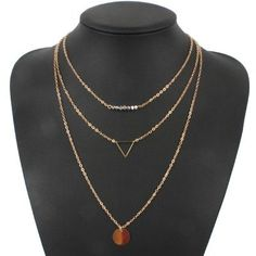 Crystal Bead, Multi-Layer Necklace Gold