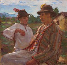 Andrei Littecky, Maramureșeni - ulei pe pânză, 66,3 × 66,8 cm, semnat dreapta jos cu negru, Littecky