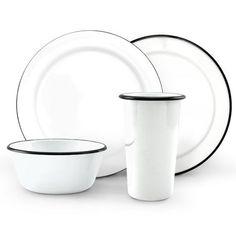 Dinner Set of 4 Enamelware Dinnerware | Barn Light Electric