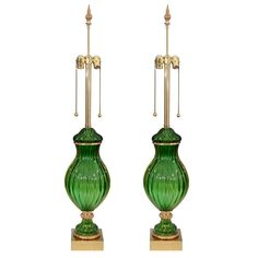 Pair of Mid Century Seguso for Marbro Murano Green Glass Lamps | From a unique collection of antique and modern table lamps at https://www.1stdibs.com/furniture/lighting/table-lamps/