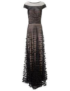 Black Textured Long Trellis Gown | Temperley London | Avenue32