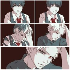 Here's the collage which i made from a popular gif. Omfg he's so hot. Kaneki Ken- Tokyo ghoul <3