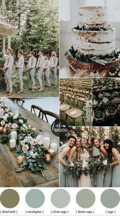 Sage wedding colors { Sage green wedding theme } - Looking for a wedding colour that refreshi. Sage wedding colors { Sage green wedding theme } - Looking for a wedding colour that refreshing? Wedding Color Combinations, Wedding Color Schemes, Color Combos, Colour Schemes, Color Palette For Wedding, Beautiful Color Combinations, Perfect Wedding, Dream Wedding, Gown Wedding