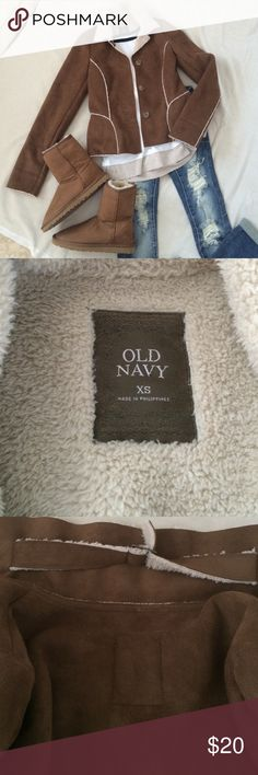 Faux suede and shearling coat Adorable coat from Old Navy!  TTS!  100% polyester Old Navy Jackets & Coats