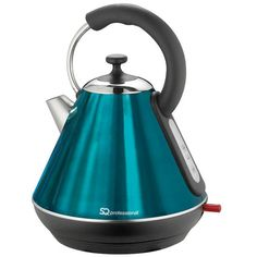 SQ Professional Aquamarine Blue Pyramid Kettle 1.8L (71 AUD) ❤ liked on Polyvore featuring home, kitchen & dining, small appliances, aqua kitchen accessories, blue tea kettle, blue kitchen accessories, cordless tea kettle and blue kettle