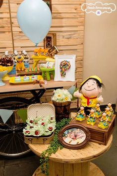 Decor and Sweets atop a small dessert table from a Table from a Disney's Up Inspired Birthday Party via Kara's Party Ideas! KarasPartyIdeas.com (4)