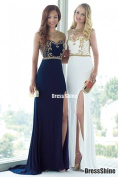 2015 Scoop Column Beaded Bodice Prom Dresses Chiffon&Tulle Court Train - PROM