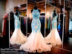 Ivory Mint Mermaid Prom Dress-Lace-Choker Neckline-Illusion Back-116NC041010 at Rsvp Prom and Pageant, your source for the HOTTEST 2016 Prom and Pageant Dresses!