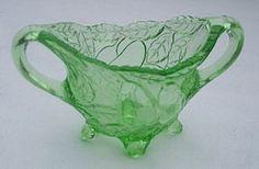 Green Depression Glass Footed Sugar.