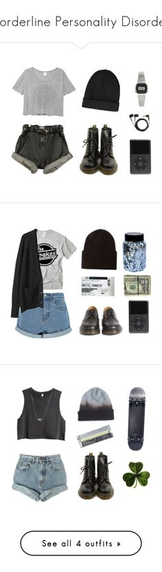 """""""Borderline Personality Disorder"""" by ufo9 ❤ liked on Polyvore featuring Monki, Dr. Martens, Topshop, Casio, Sennheiser, CO, Boohoo, La Garçonne Moderne, Carhartt and Levi's"""