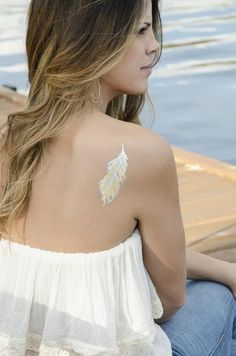 Metallic Feather Temporary Tattoo MyTaT