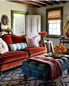 Tilton Fenwick living room - love the custom sofa covered in rust Schumacher velvet and the Ballard Designs ottoman in a Rogers & Goffigon tartan. Living Room Sofa, Home Living Room, Living Room Designs, Living Room Decor, Living Spaces, Home Interior, Interior Design, Interior Ideas, Deco Rose