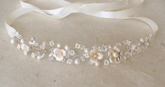 Ivory flower headband. Bridal headband. by ShesAccessories on Etsy