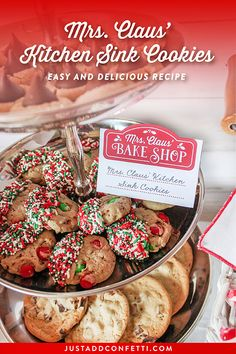 These Mrs. Claus' Kitchen Sink Cookies are so easy and delicious! You can find the full recipe as well as a bunch of coordinating free printables at Just Add Confetti! #recipe #christmascookies #freeprintable #partyprintables #JustAddConfetti