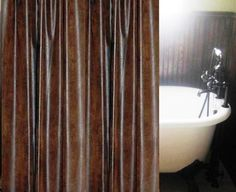 Ranger Brown Faux Leather Shower Curtain Custom Made
