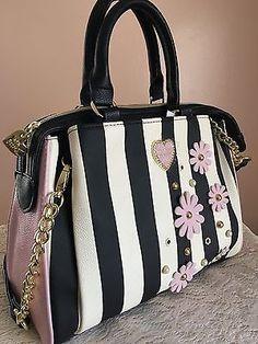 Betsey-Johnson-Striped-Satchel-Purse-Pink-Princess-Handbag-Flowers-Xmas-Gift-New