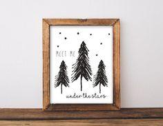 Meet Me Under the Stars Nursery Wall Art, Adventure Baby Shower Gift Woodland Bedroom Decor, Black & White Monochrome