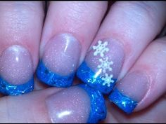 Christmas Acrylic Nails - Blue Glitter Tips & 3D Snowflakes