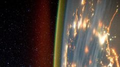 The Earth's air glows softly at night, charged up with energy from the Sun. Click to see an amazing video of this made from astronaut photos!
