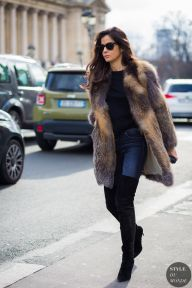 Barbara Martelo wearing Magda Butrym fur coat, R13 jeans, Gianvito Rossi boots after Chanel fashion show. Shop this look (or similar) here: STYLE DU MONDE on Instagram @styledumonde, Pinterest, Twitter, Tumblr and Facebook