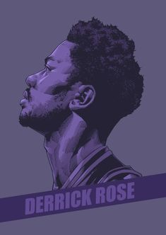 Derrick Rose Purple Portrait Illustration