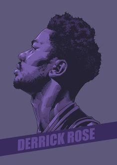 Derrick Rose Purple Portrait Illustration