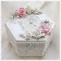 Handmade  jewellery  box, trinket box, keepsake box, wedding box, shabby chic box, memory box, wedding gift, wedding favor, unique  gift