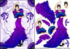 Flamenco Dancing Lady (purple) Card Front and Decoupage
