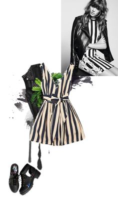 """stripes+leather"" by sawe ❤ liked on Polyvore"