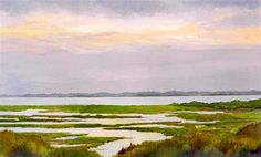 "Marsh Maze by Bill Kreitlow | $650 | watercolor painting | 17"" h x 28"" w 