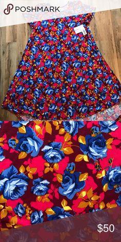 Large Floral Lularoe Carly Dress Super soft and flowy! Gorgeous with a belt! LuLaRoe Dresses