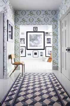 Geometric floor tile with patterned wallpaper