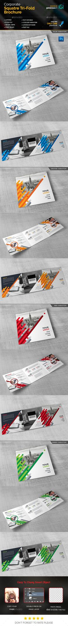 Business Square Tri-Fold Brochure Template PSD. Download here: http://graphicriver.net/item/business-square-trifold/16703282?ref=ksioks
