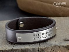 Latitude Longitude For Him - Mens Leather GPS Bracelet - Leather Cuff - Hand Crafted in USA