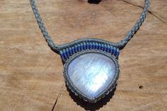 rainbow moonstone necklace,macrame necklace,gemstone necklace,moonstone jewelry,macrame jewelry,macrame pendant,cabochon necklace,boho chic by ARTEAMANOetsy on Etsy