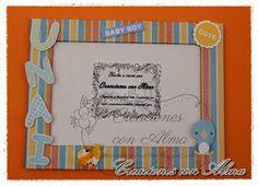 Marco de fotos para la tarta de pañales de Unai http://creacionesconalma.blogspot.com.es/2013/06/tarta-de-panales-para-unai.html