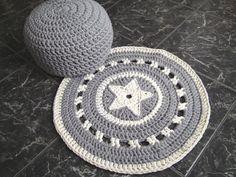 Crochet Floor Rug  Gray/ Ecru Round Rug  Carpet  by LoopingHome