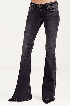 KARLIE LOW RISE BELL BOTTOM MOTO WOMENS JEAN - True Religion