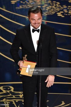 Actor Leonardo DiCaprio accepts the Best Actor award for 'The Revenant' onstage during the 88th Annual Academy Awards at the Dolby Theatre on February 28, 2016 in Hollywood, California.