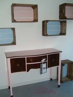 Hand painted crates and cabinet - shop display items upcycled by Out of the Dark. http://www.fabrications1.co.uk