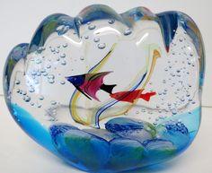 "Murano Art Glass Signed ""Murano"" in Glass 2 Fish Aquarium with Coral Stunning!"