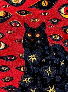 Uglycoats Cat Eyes Trippy Aesthetic Painting Black Kitty Black Cats