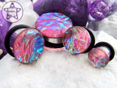 """Superjelly ONE Plug Only Pink Rainbow Faux Dichro Prom 2g, 0g, 00g, 7/16"""" / 6mm, 8mm, 10mm, 11mm on Etsy, $14.83"""
