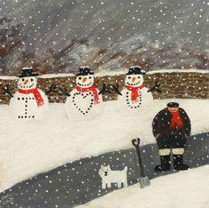 gary bunt(1957- ), the snowmen. oil on canvas, 12 x 12 ins. portland gallery, london, uk http://www.portlandgallery.com/artist/Gary_Bunt/item/archive/29975/(70)_The_Snowmen