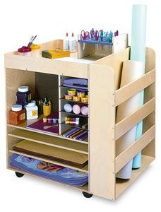 The Whitney Brothers Rolling Art Cart is a great solution for classroom clutter — just roll it over to the next project! Featuring birch plywood construction, it has sectioned shelves on two sides for storing paper and supplies. A third side contains a deep bay for storing larger supplies and paper rolls.    Special care is given to ensure all edges and parts are smooth, rounded, and firmly attached to keep them from breaking free or cracking from rigorous use. The top of the cart has a…