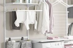Bilderesultat for elfa vaskerom Laundry Room Design, Work Surface, Modern Kitchen Design, Garage Storage, Bathroom Hooks, Wardrobe Rack, Furniture, Tips, Home Decor